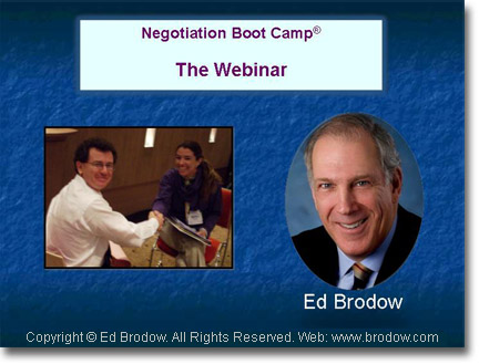 Negotiating Webinars conducted by Ed Brodow
